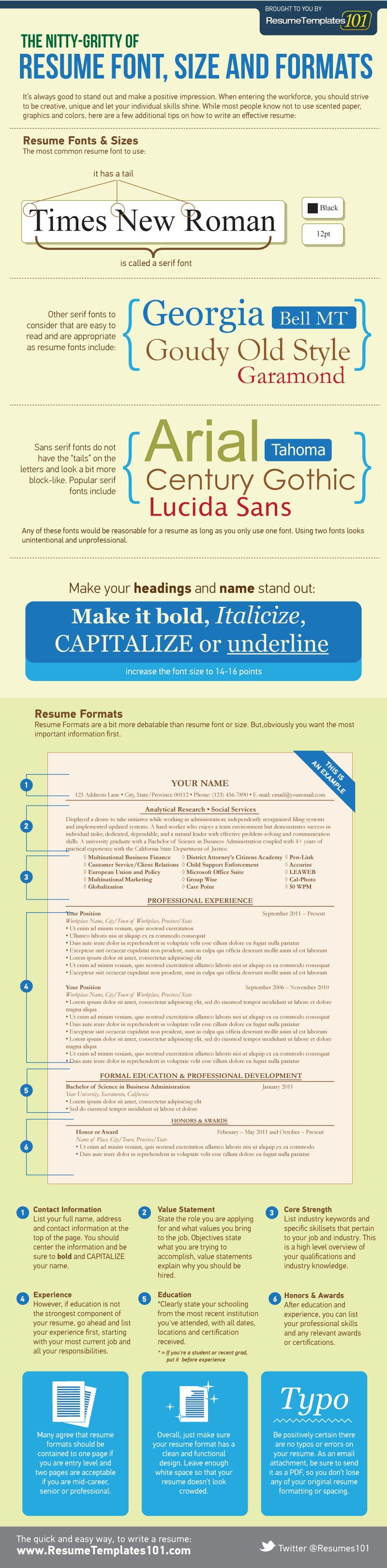 what is the best resume font size and format infographic