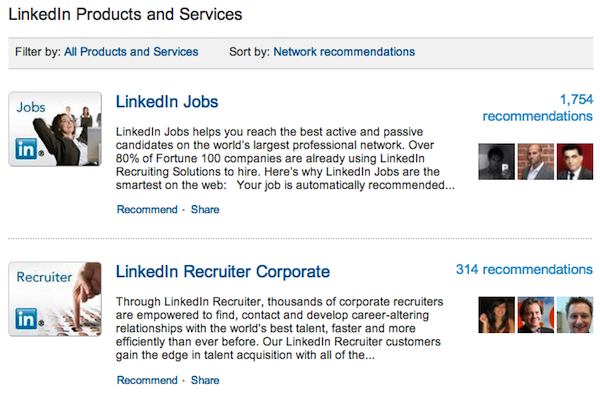 products on linkedin company page