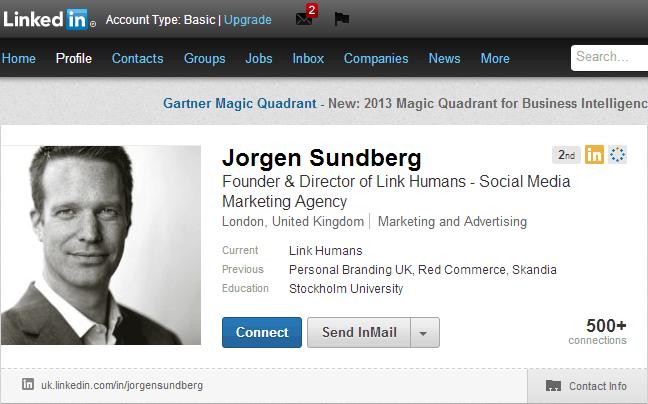 Jorgen Sundberg LinkedIn Profile