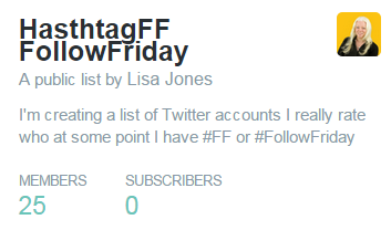 twitter list #ff #followfriday lisamarijones list